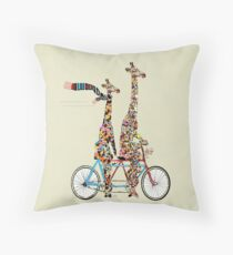 giraffes days lets tandem Throw Pillow