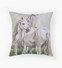 Nuzzling horses Throw Pillow