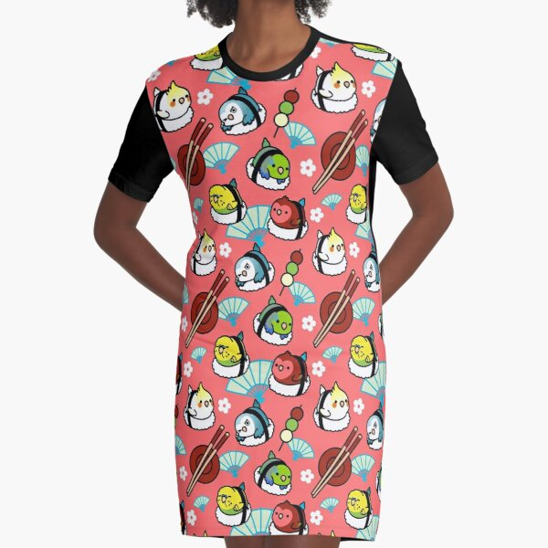 Sushi Time with Cody the Lovebird & Friends Graphic T-Shirt Dress