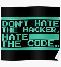 Retro Screen Hack Coder Hacking Code Poster