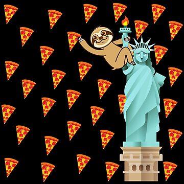 Cute Sloth Pizza Rain NYC by plushism