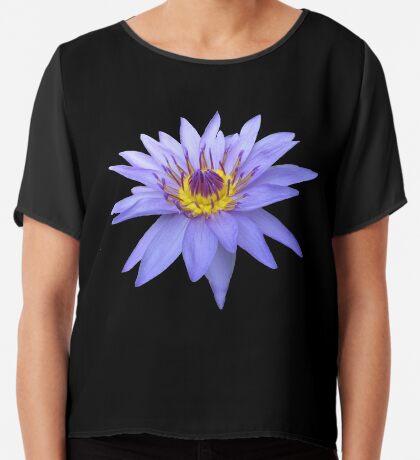 wunderschöne, blaue Seerose, Blume, Blüte, Sommer Chiffontop für Frauen