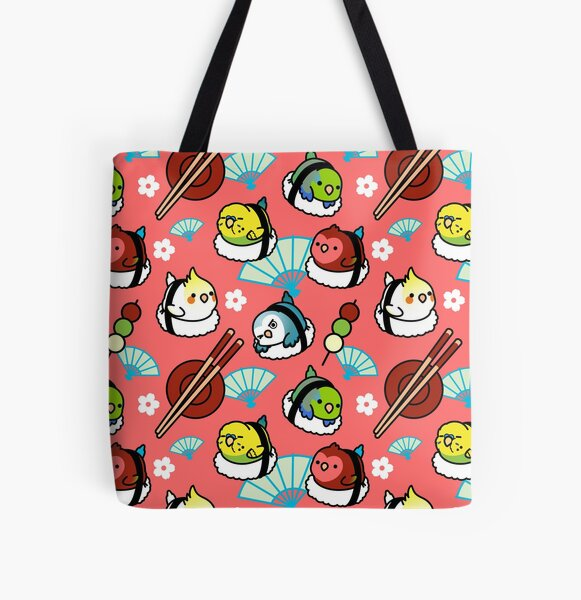 Sushi Time with Cody the Lovebird & Friends All Over Print Tote Bag