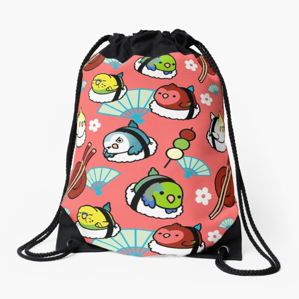 Sushi Time with Cody the Lovebird & Friends Drawstring Bag