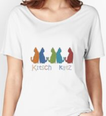 Kitsch Cats Silhouette Cat Collage Pattern Isolated Women's Relaxed Fit T-Shirt