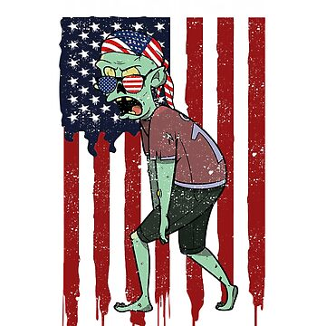 Halloween Zombie American Flag by donpakito