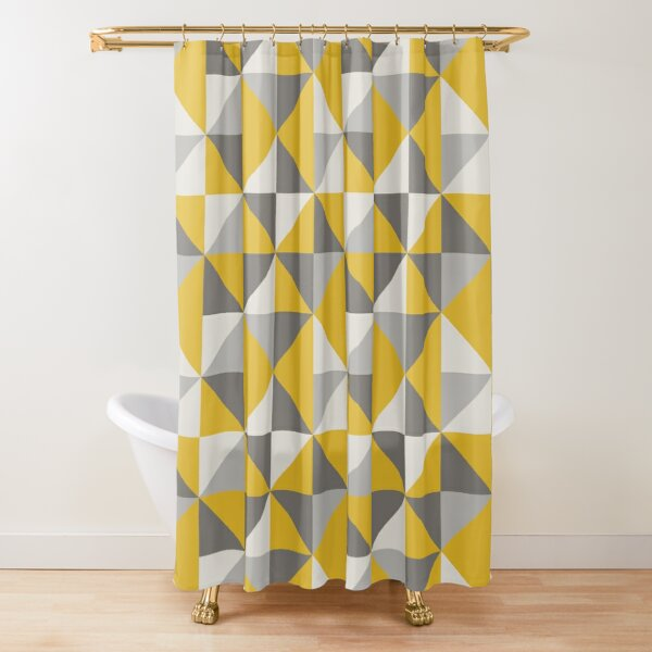 Retro Triangle Design in Yellow and Grey Shower Curtain
