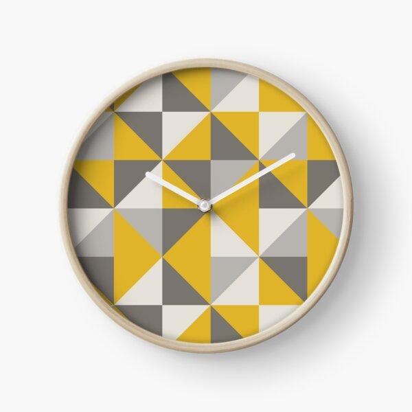 Design Triangle rétro en jaune et gris Horloge