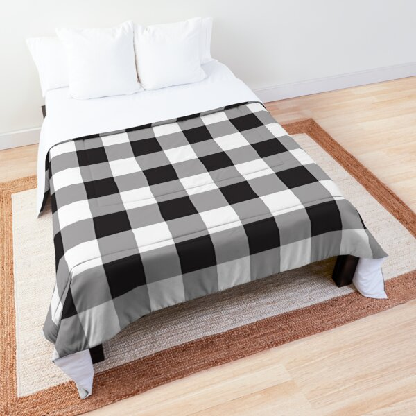 Black Buffalo Plaid Pattern Stripes Comforter