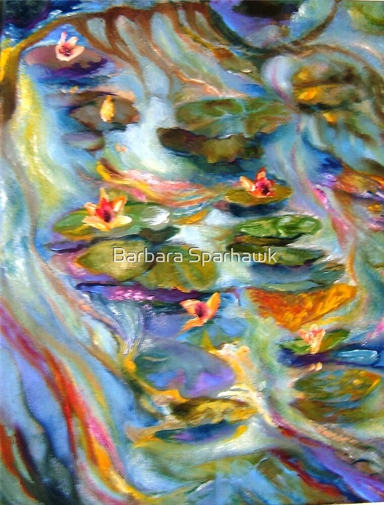 Water Lilies Below the Bridge by Barbara Sparhawk