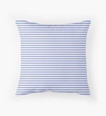 Small Horizontal Cobalt Blue and White French Mattress Ticking Stripes Throw Pillow