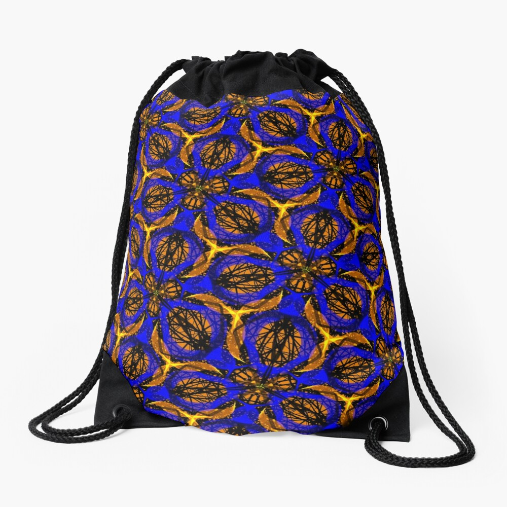 Blue yellow African print  Drawstring Bag