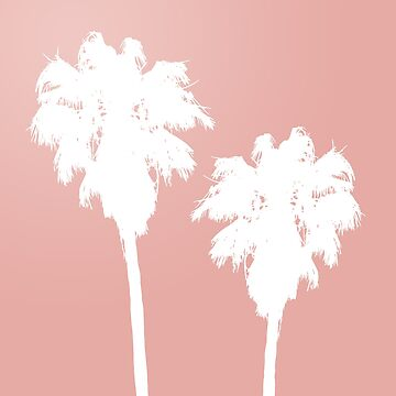 White Palm Trees on Rose Gold by julieerindesign