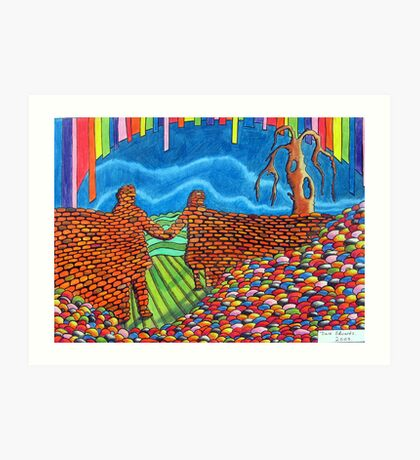 274 - IF ONLY THESE BRICKS COULD TALK III (THE WALL OF FRIENDSHIP) - DAVE EDWARDS - COLOURED PENCILS & FINELINERS  - 2009 Art Print
