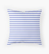 Horizontal Cobalt Blue and White French Mattress Ticking Stripes Throw Pillow