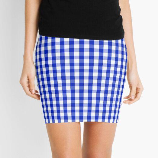 Cobalt Blue and White Gingham Check Plaid Squared Pattern Mini Skirt