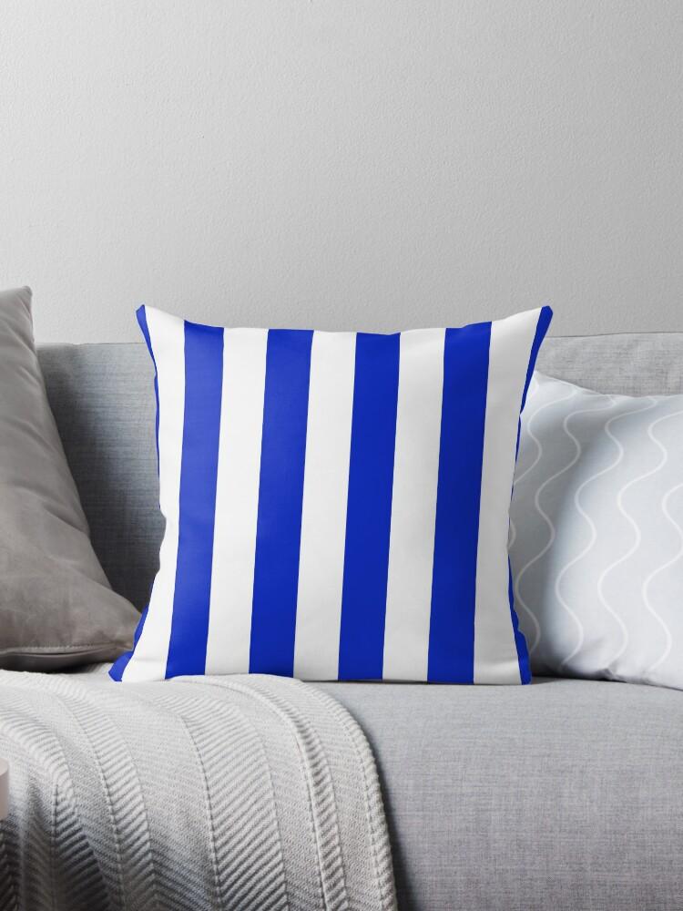 Cobalt Blue and White Wide CabanaTent Stripe by podartist