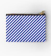 Small Cobalt Blue and White Candy Cane Stripe Zipper Pouch