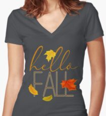 Hello Fall Hand Lettered Typography Women's Fitted V-Neck T-Shirt