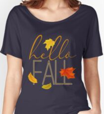 Hello Fall Hand Lettered Typography Women's Relaxed Fit T-Shirt