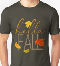 Hello Fall Hand Lettered Typography Unisex T-Shirt