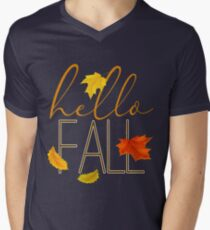 Hello Fall Hand Lettered Typography Men's V-Neck T-Shirt