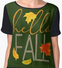 Hello Fall Hand Lettered Typography Chiffon Top