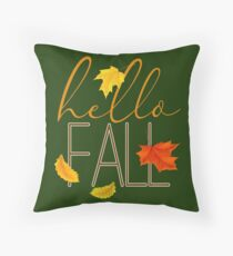 Hello Fall Hand Lettered Typography Throw Pillow