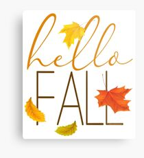 Hello Fall Hand Lettered Typography Metal Print