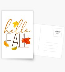Hello Fall Hand Lettered Typography Postcards