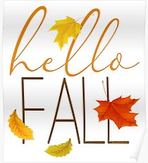 Hello Fall Hand Lettered Typography Poster