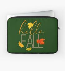 Hello Fall Hand Lettered Typography Laptop Sleeve