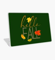 Hello Fall Hand Lettered Typography Laptop Skin