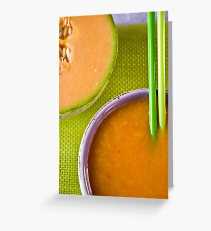 Melon and Winter Squash Soup With Chili Sting Greeting Card