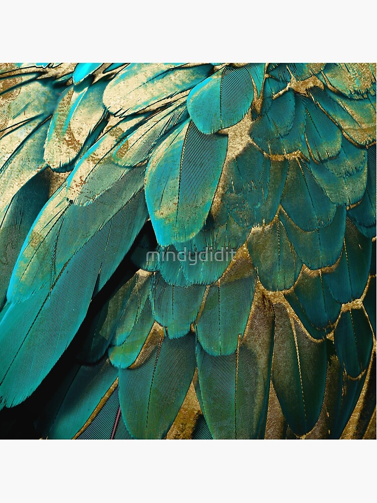 Feather Glitter Teal and Gold by mindydidit