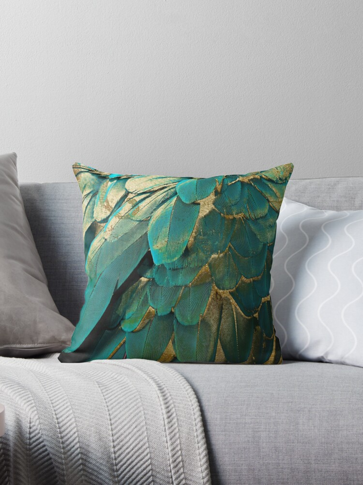 Feather Glitter Teal and Gold