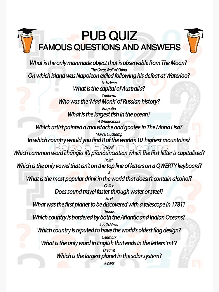 Pub Quiz Design with 16 Questions and Answers by markstones