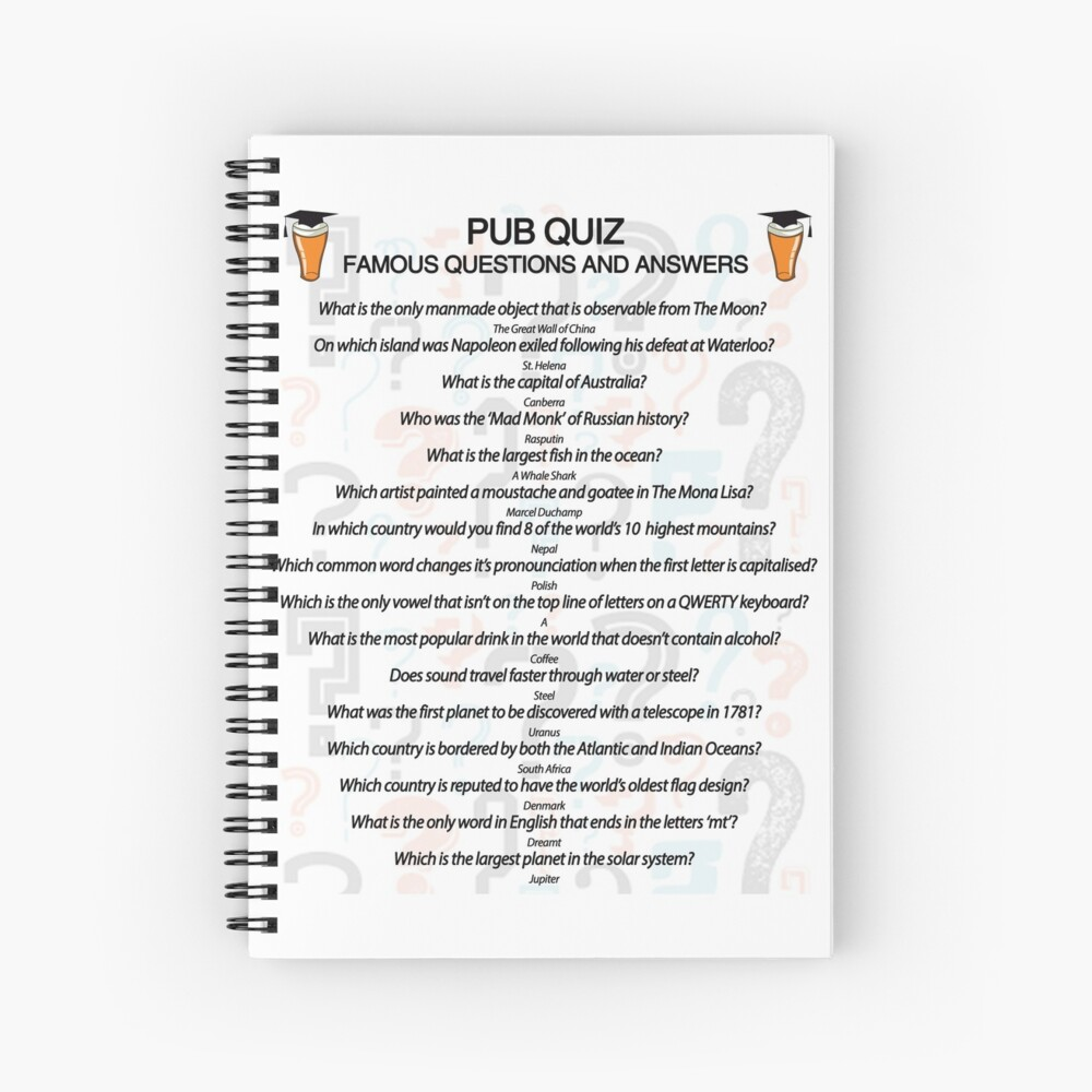 Pub Quiz Design with 16 Questions and Answers Spiral Notebook