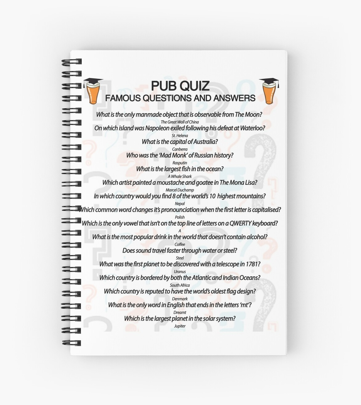 """""""Pub Quiz Design with 16 Questions and Answers"""" Spiral ..."""
