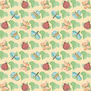 Cute Little Bugs Pattern on Leaves by limengd