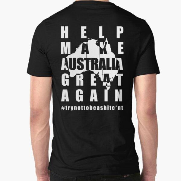 Aussie back print dark colours Slim Fit T-Shirt