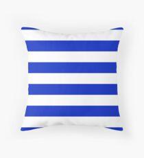 Cobalt Blue and White Wide Horizontal Cabana Tent Stripe Throw Pillow