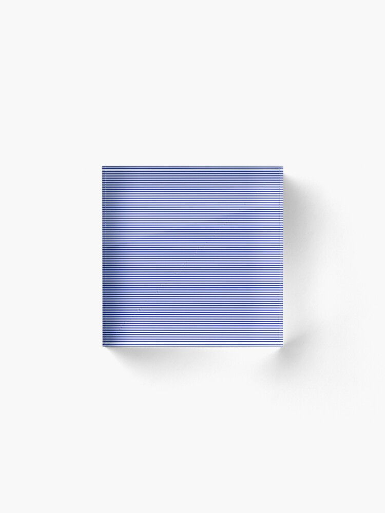 Alternate view of Cobalt Blue and White Horizontal Nautical Sailor Stripe Acrylic Block