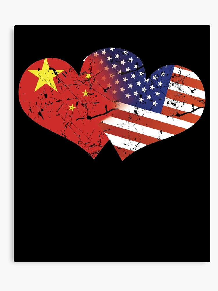 China Flag USA Flag Chinese Independence Day Chinese Flag American Flag |  Canvas Print