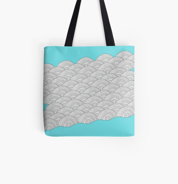 White Clouds Blue Sky Drawing All Over Print Tote Bag