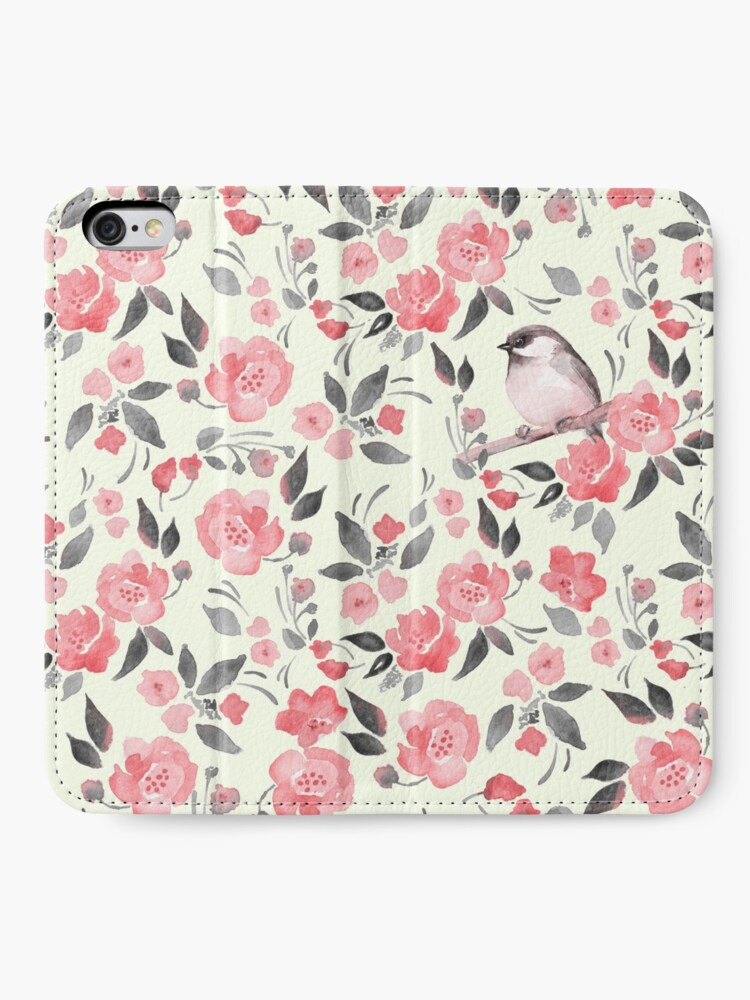 Alternate view of Watercolor floral background with cute bird /2 iPhone Wallet