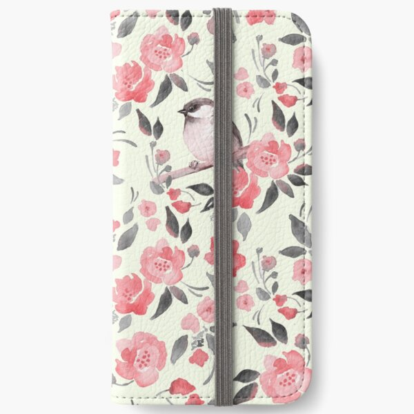 Watercolor floral background with cute bird /2 iPhone Wallet