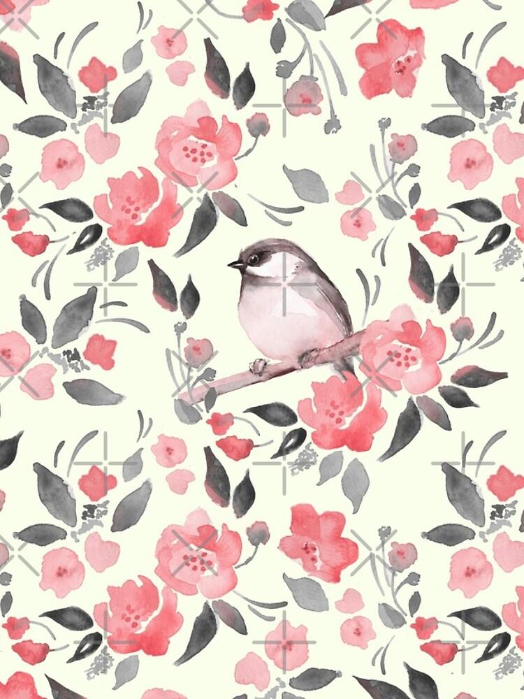Aquarellblumenhintergrund mit nettem Vogel / 2 von Gribanessa