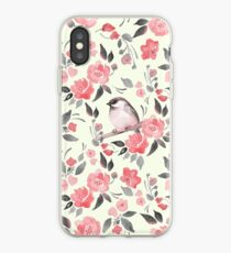 Watercolor floral background with cute bird /2 iPhone Case