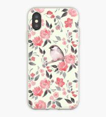 Aquarellblumenhintergrund mit nettem Vogel / 2 iPhone-Hülle & Cover